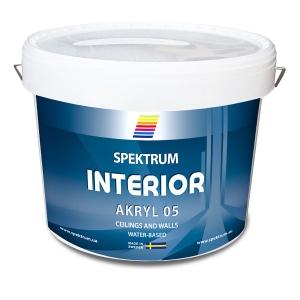 Интерьерная краска для стен и потолков Spektrum Interior 05 (vit) матовая, 9 л