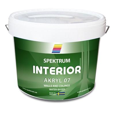 Краска для стен и потолков Spektrum Interior 07 (vit) водоэмульсионная, 9 л