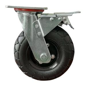 Колесо поворотное надувное с полноценным тормозом 200х50